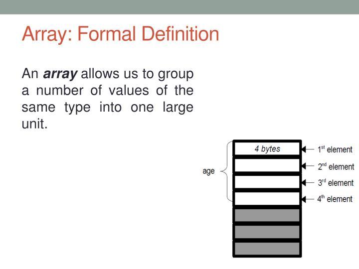 Array: Formal Definition