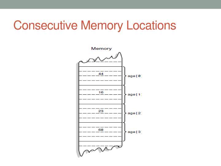 Consecutive Memory Locations