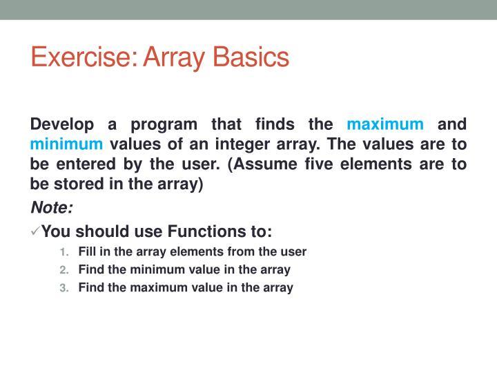 Exercise: Array Basics