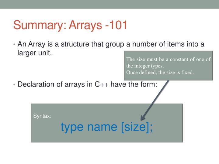 Summary: Arrays -101
