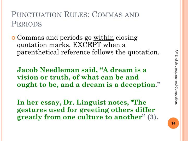 Punctuation Rules: Commas and Periods