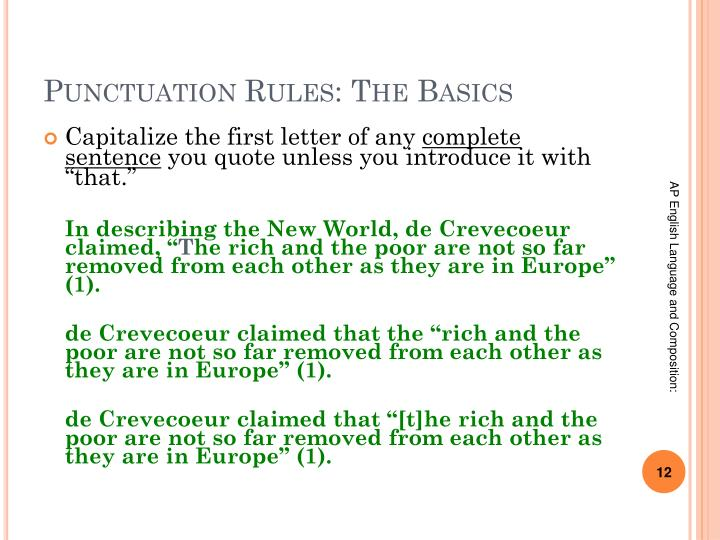 Punctuation Rules: The Basics