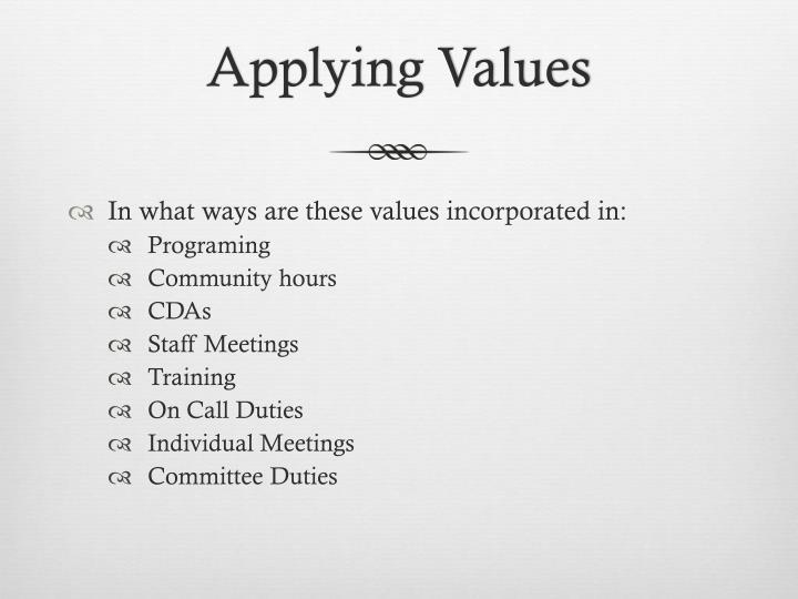 Applying Values