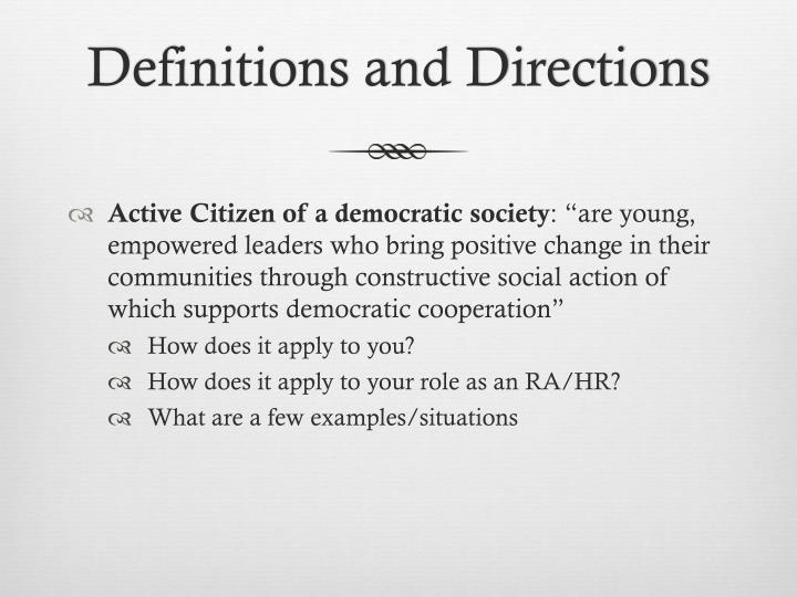 Definitions and Directions