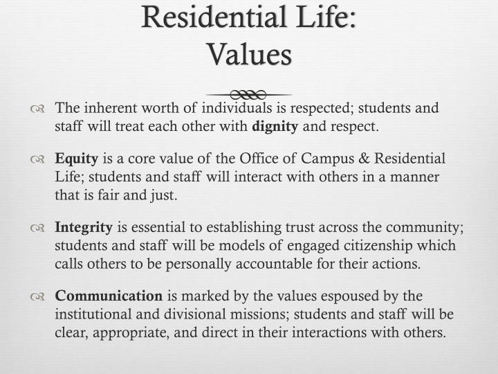 Residential Life: