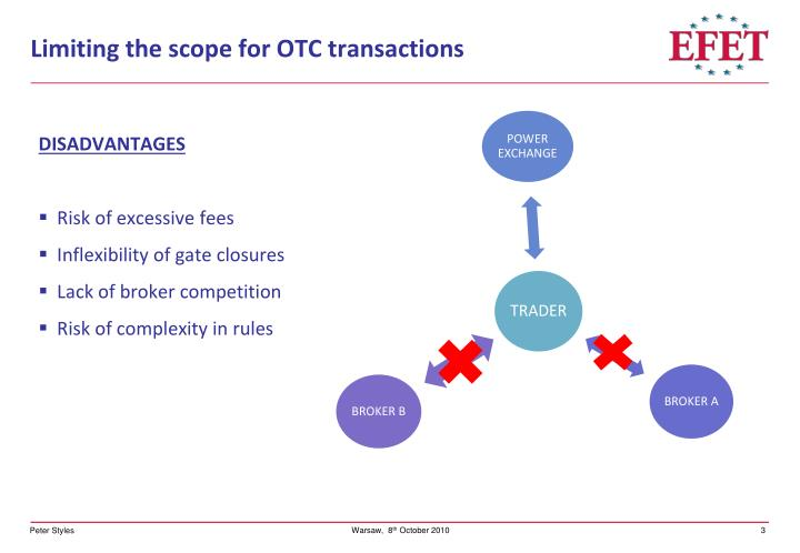Limiting the scope for otc transactions