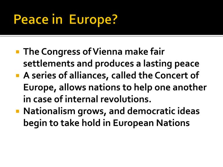Peace in  Europe?
