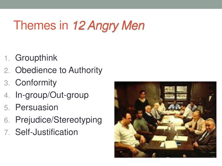 12 angry men prejudice 12 angry men exposes prejudice, bias of jurors posted on april 17, 2015 by charlieclaywell part of the appeal of the american way, is the fact that when accused of a crime, americans are judged by a group of their peers — and presumed innocent until proven guilty.