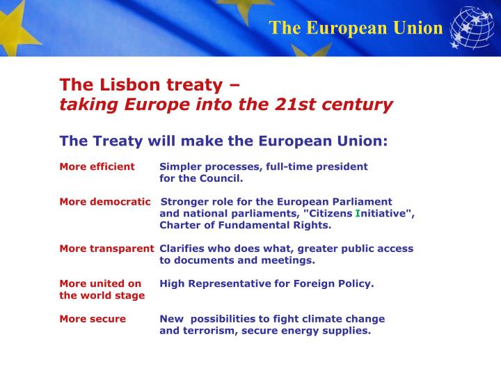 The Lisbon treaty –
