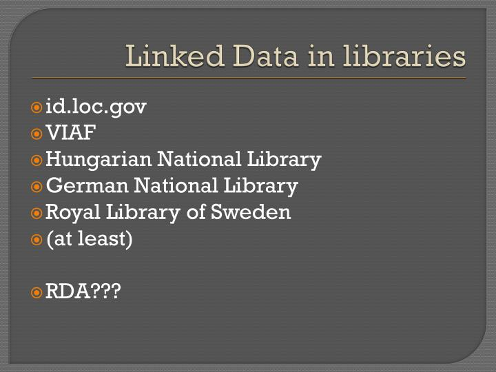 Linked Data in libraries