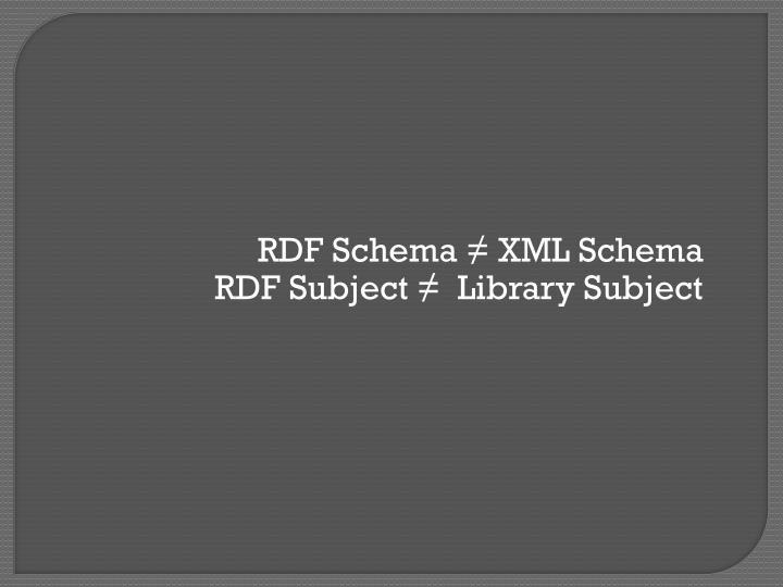 RDF Schema ≠ XML Schema