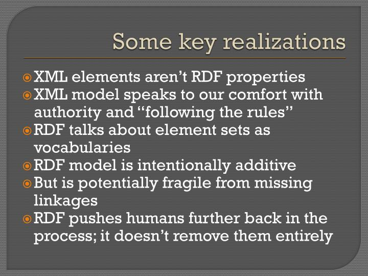 Some key realizations