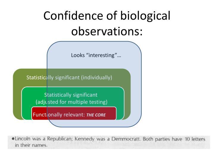 Confidence of biological observations: