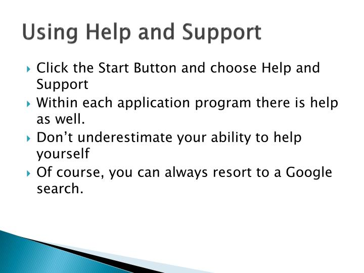 Using Help and Support