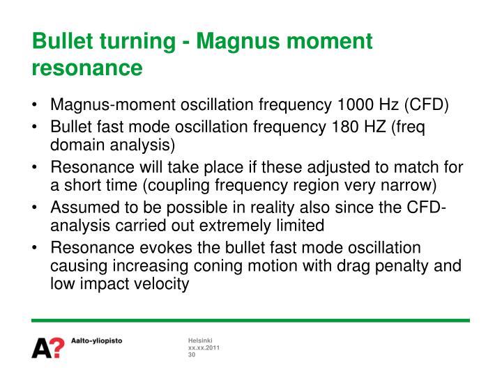 Bullet turning - Magnus moment resonance