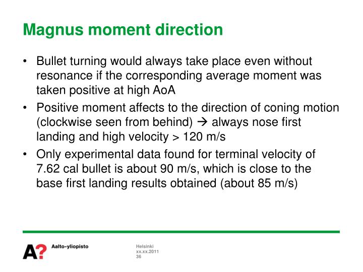 Magnus moment direction