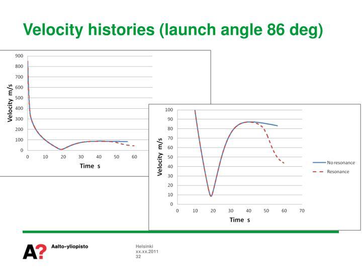 Velocity histories (launch angle 86 deg)