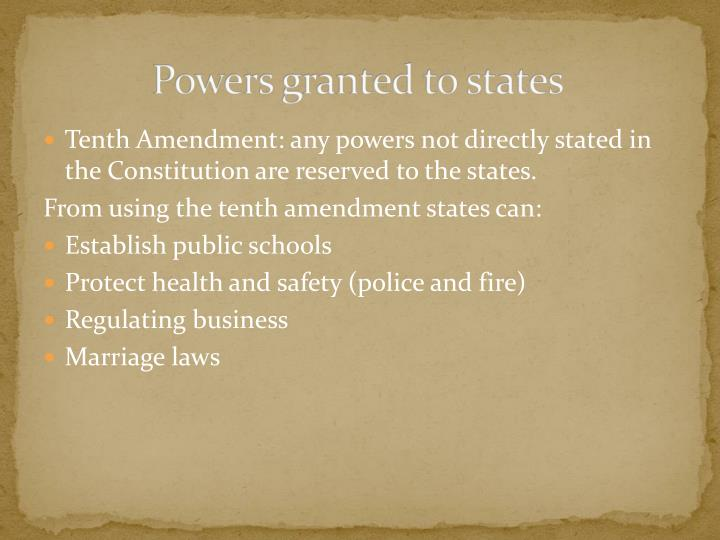 Powers granted to states