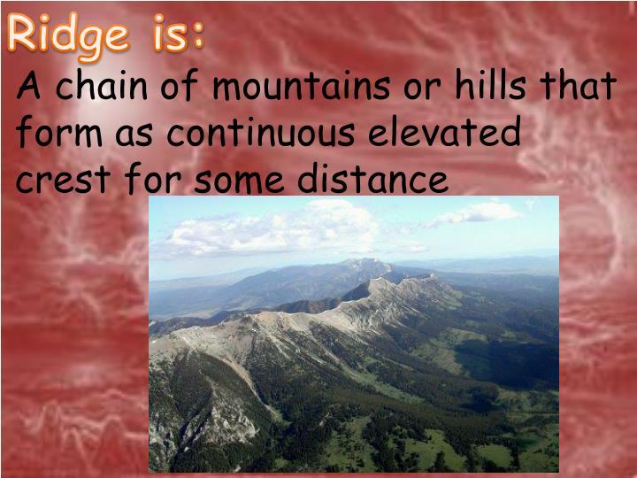 Ridge is: