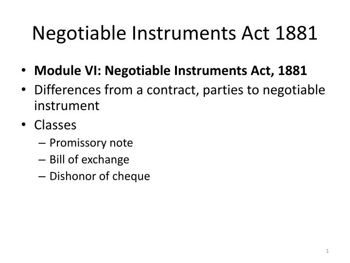 negotiable instruments act 1881 n.