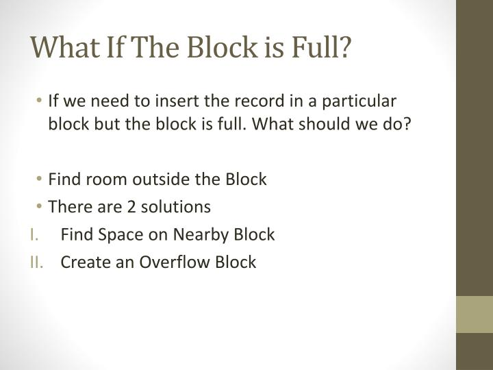 What If The Block is Full?