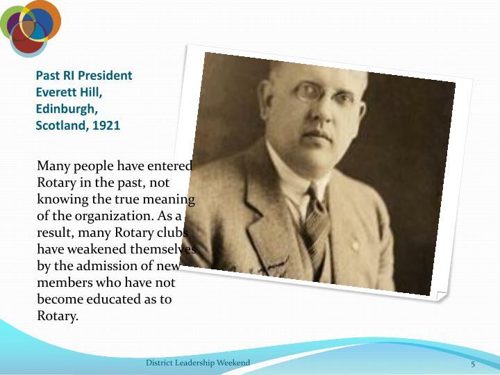 Past RI President Everett Hill, Edinburgh, Scotland, 1921
