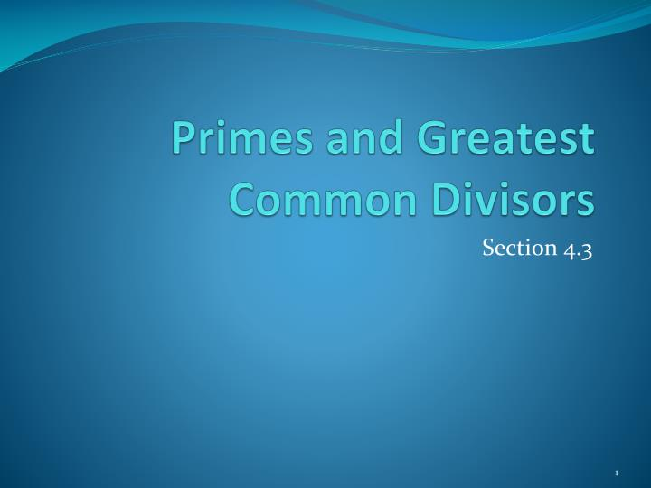 primes and greatest common divisors n.