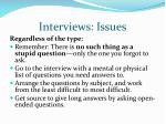interviews issues