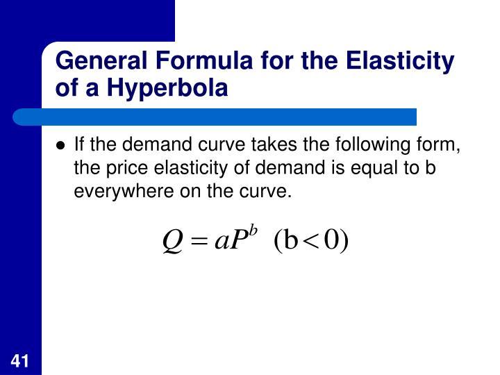 General Formula for the Elasticity of a Hyperbola
