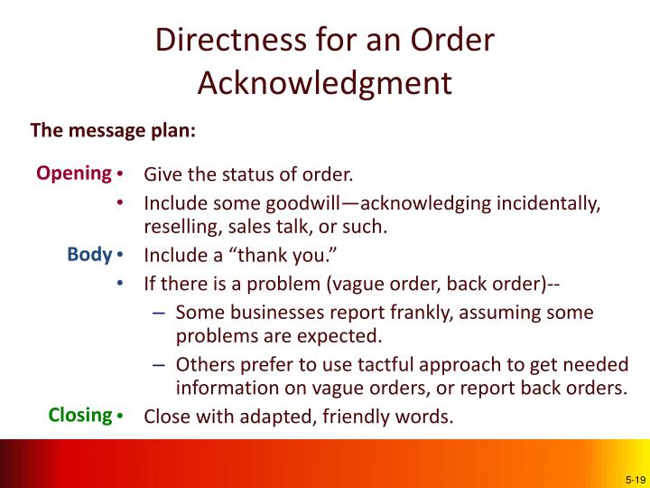 Directness for an Order Acknowledgment