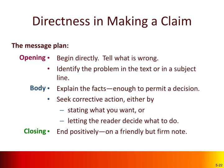 Directness in Making a Claim