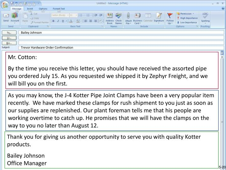 Good Example of an Order Acknowledgment Involving a Delay