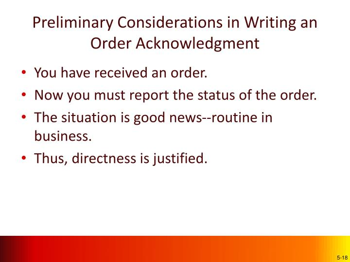 Preliminary Considerations in Writing an Order Acknowledgment