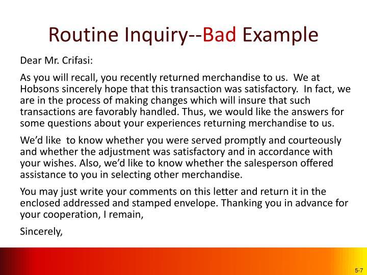 Routine Inquiry--