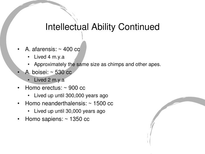 Intellectual Ability Continued