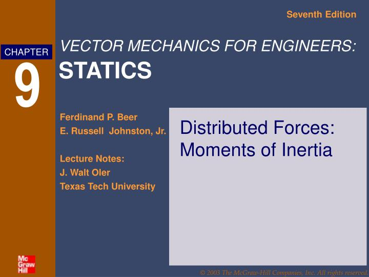 distributed forces moments of inertia n.