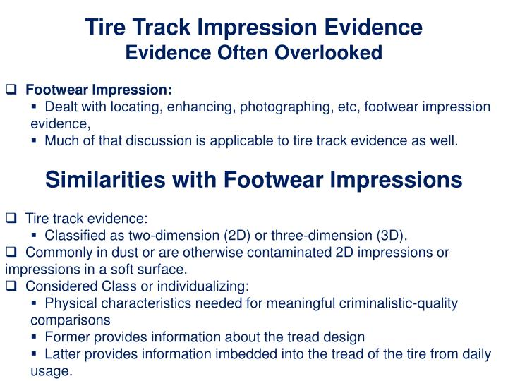 Tire Track Impression Evidence