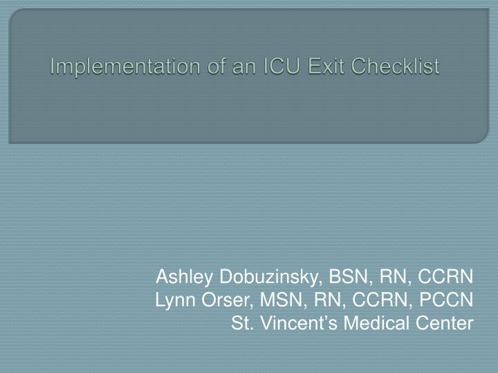 Implementation of an icu exit checklist