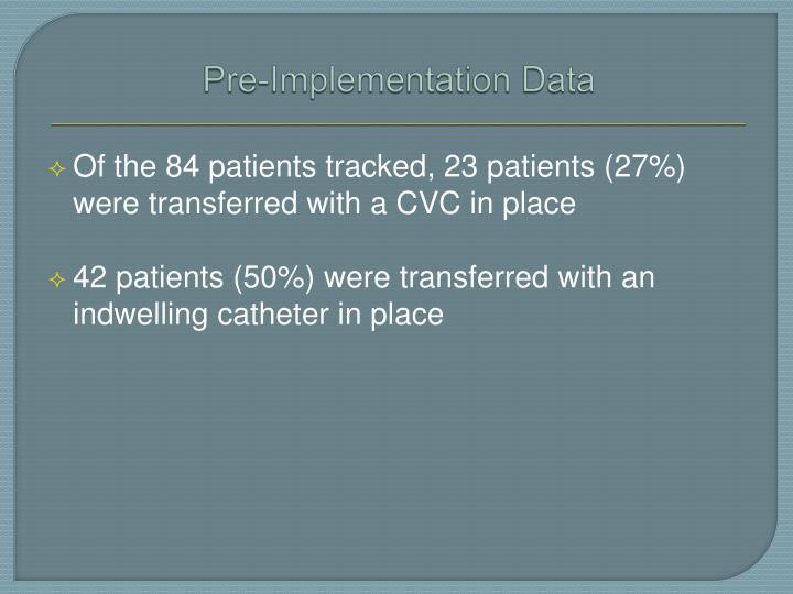 Pre-Implementation Data