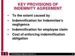 key provisions of indemnity agreement