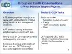 group on earth observations cfp for decision support projects