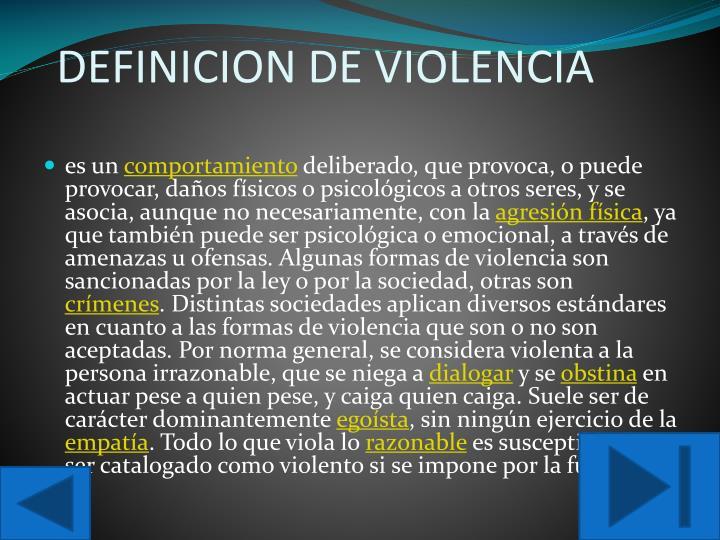 Definicion de violencia