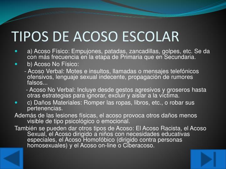 TIPOS DE ACOSO ESCOLAR