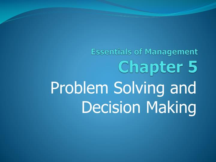 essentials of management chapter 5 n.