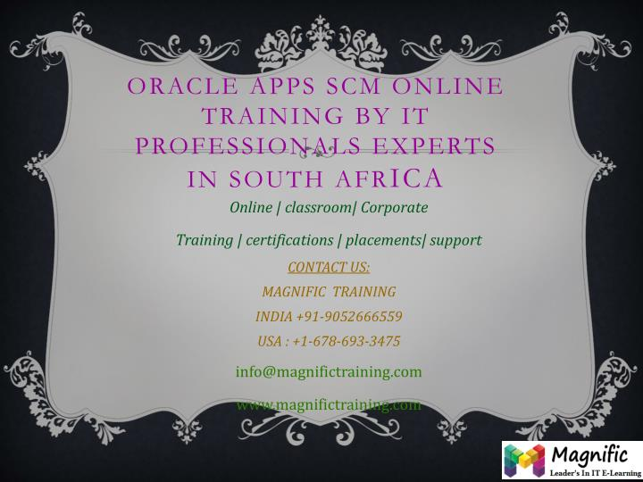 Oracle apps scm online training by it professionals experts in south afr ica