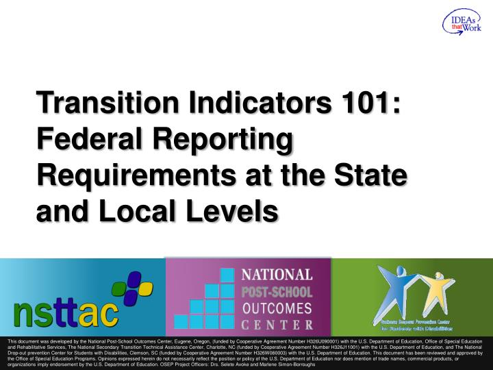 transition indicators 101 federal reporting requirements at the state and local levels n.