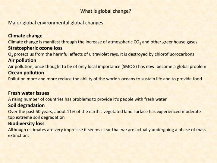 What is global change?