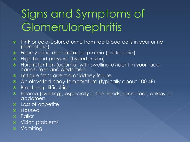 Signs and Symptoms of Glomerulonephritis