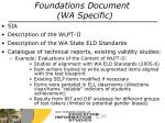foundations document wa specific
