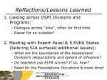 reflections lessons learned